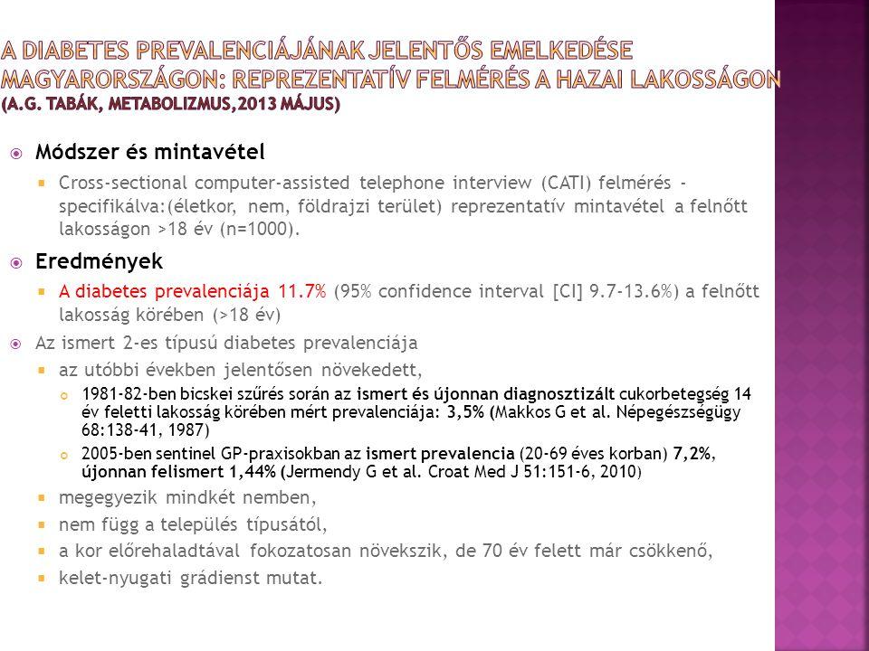 A Diabetes pREvalenciájának jelentős emelkedése Magyarországon: reprezentatív felmérés a hazai lakosságon (A.G. Tabák, Metabolizmus,2013 május)