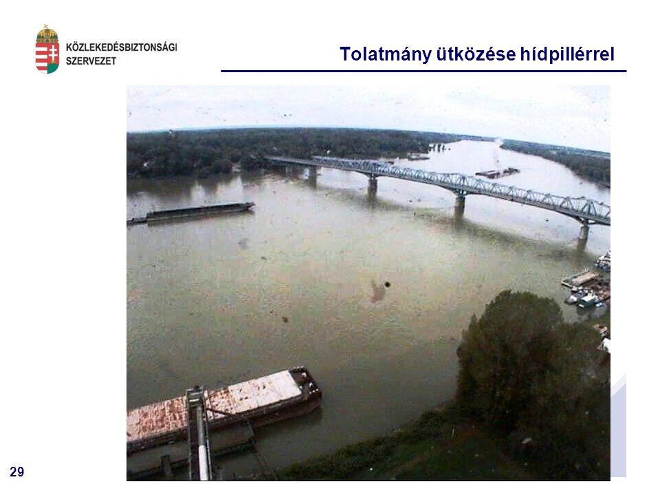 Tolatmány ütközése hídpillérrel