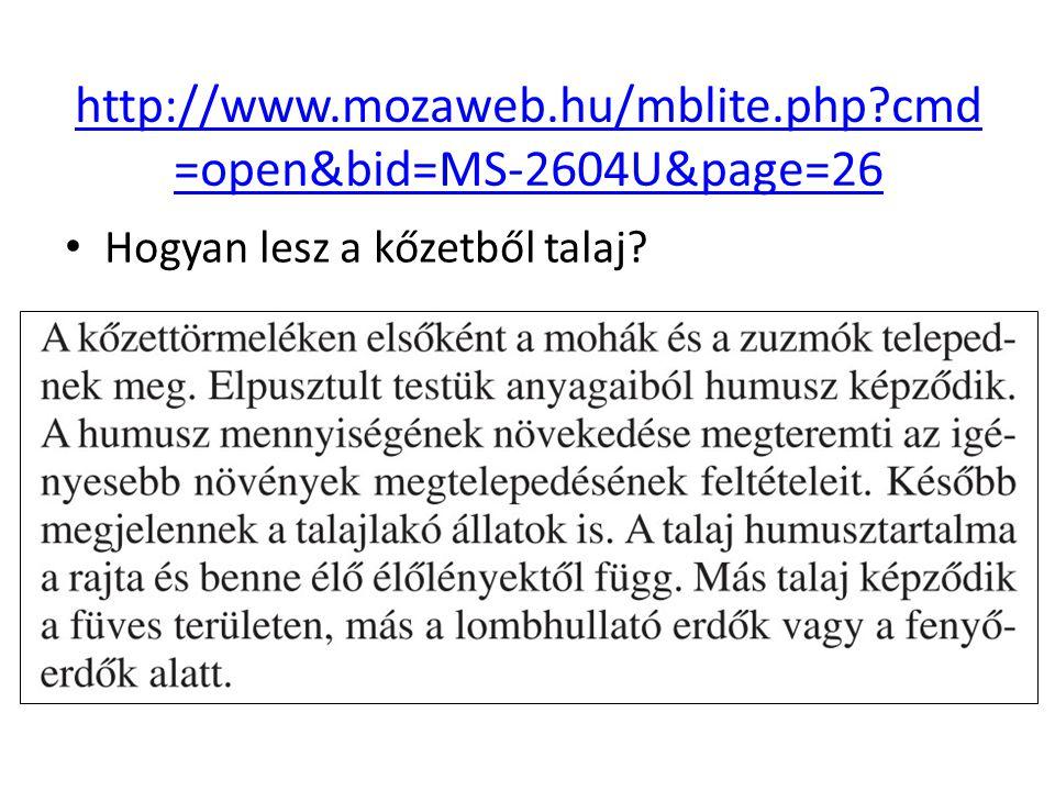 http://www.mozaweb.hu/mblite.php cmd=open&bid=MS-2604U&page=26 Hogyan lesz a kőzetből talaj