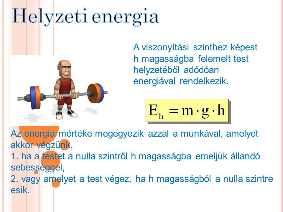 Helyzeti energia A viszonyítási szinthez képest h magasságba felemelt test helyzetéből adódóan energiával rendelkezik.