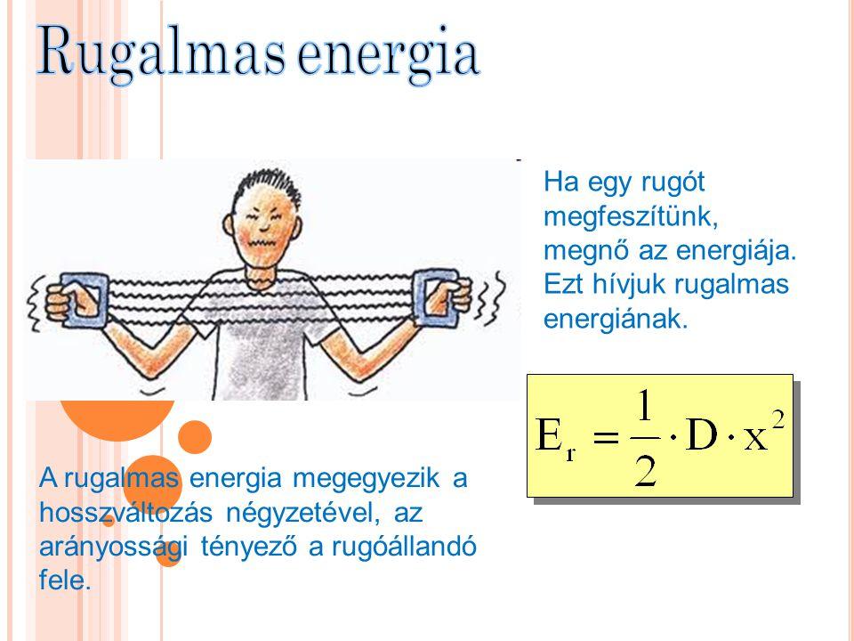 Rugalmas energia Ha egy rugót megfeszítünk, megnő az energiája. Ezt hívjuk rugalmas energiának.