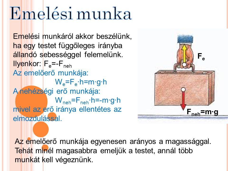 Emelési munka Fe. Fneh=m∙g. Emelési munkáról akkor beszélünk, ha egy testet függőleges irányba állandó sebességgel felemelünk.