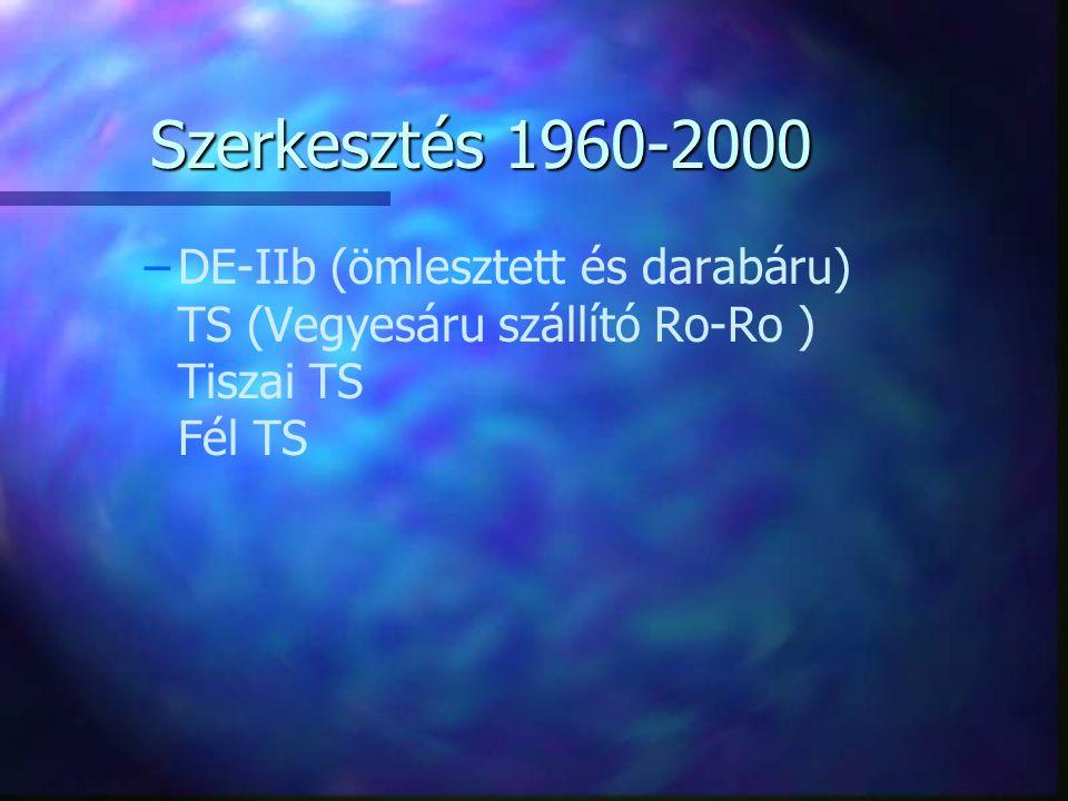 Szerkesztés 1960-2000 DE-IIb (ömlesztett és darabáru) TS (Vegyesáru szállító Ro-Ro ) Tiszai TS Fél TS.