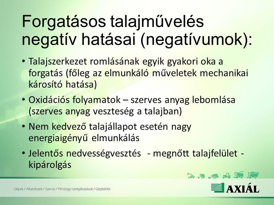 Forgatásos talajművelés negatív hatásai (negatívumok):
