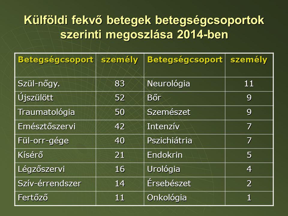 Külföldi fekvő betegek betegségcsoportok szerinti megoszlása 2014-ben