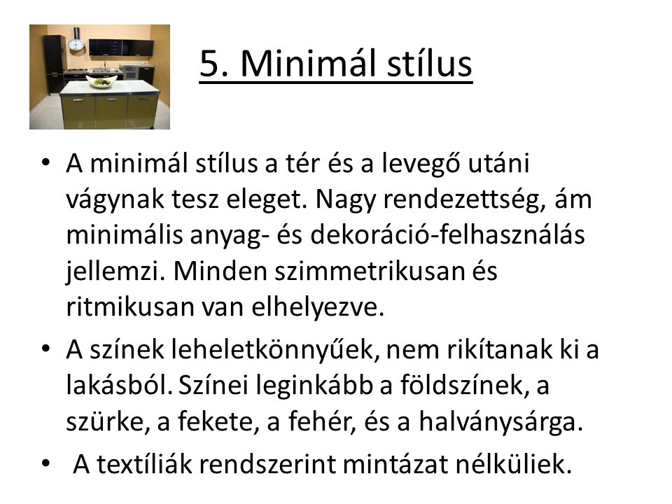 5. Minimál stílus