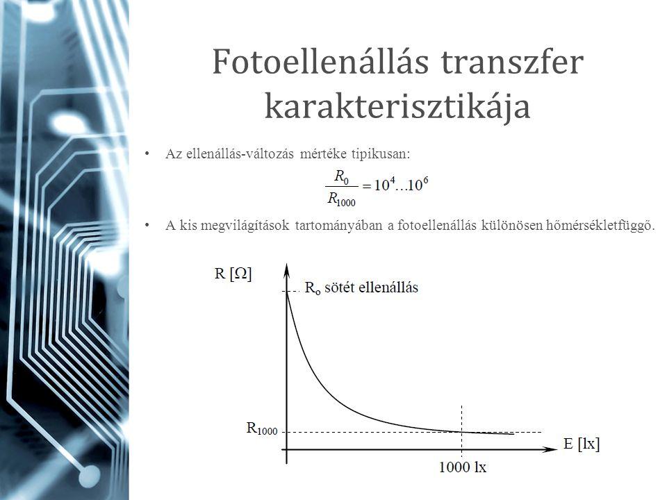 Fotoellenállás transzfer karakterisztikája