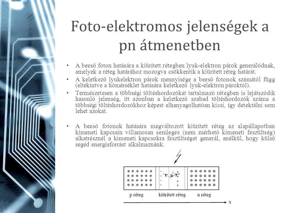 Foto-elektromos jelenségek a pn átmenetben