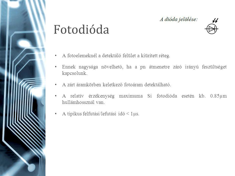 Fotodióda A fotoelemeknél a detektáló felület a kiürített réteg.