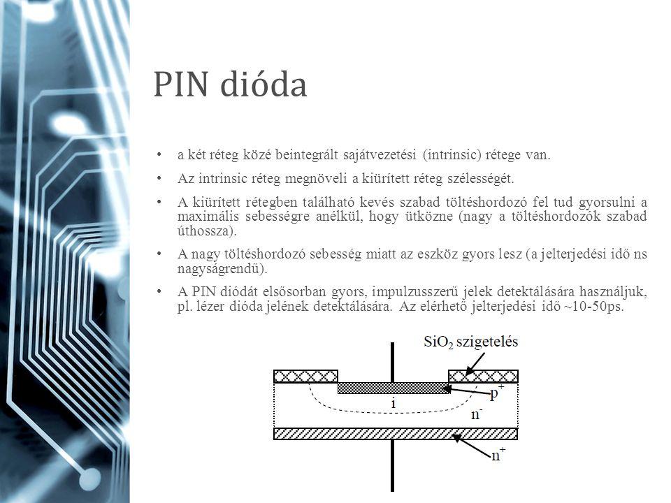 PIN dióda a két réteg közé beintegrált sajátvezetési (intrinsic) rétege van. Az intrinsic réteg megnöveli a kiürített réteg szélességét.