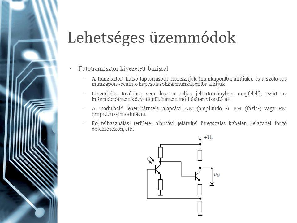 Lehetséges üzemmódok Fototranzisztor kivezetett bázissal