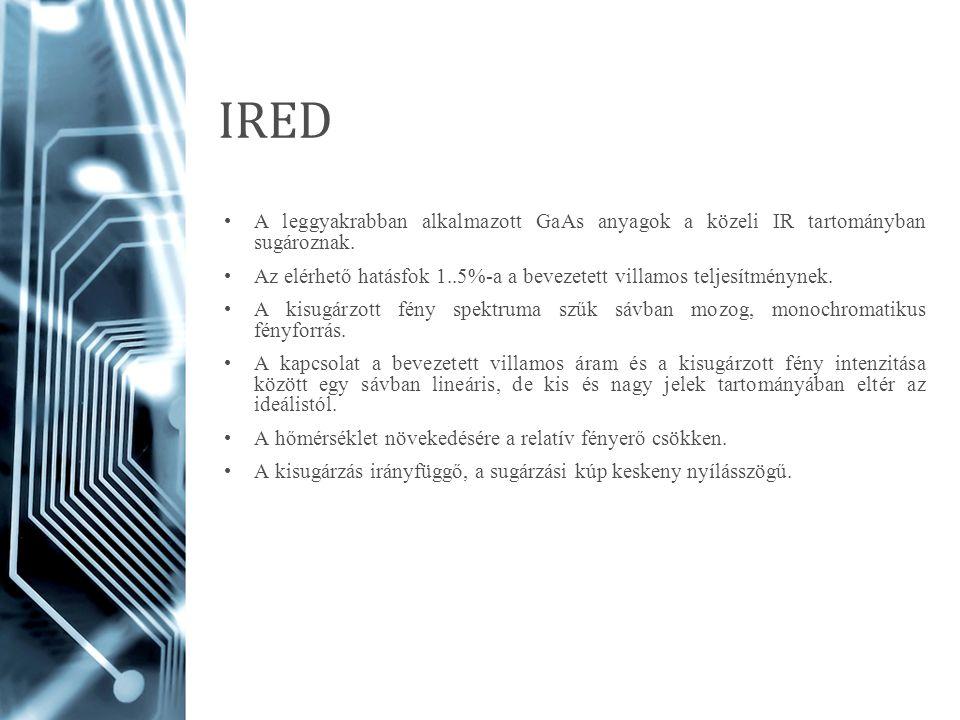 IRED A leggyakrabban alkalmazott GaAs anyagok a közeli IR tartományban sugároznak.