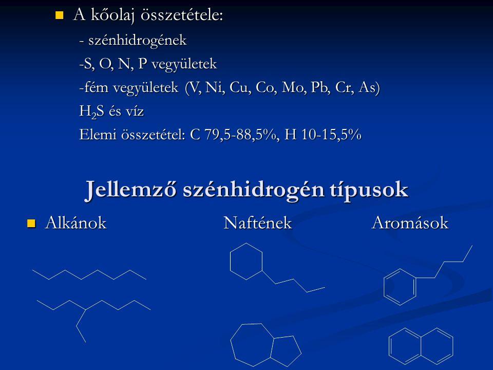 Jellemző szénhidrogén típusok