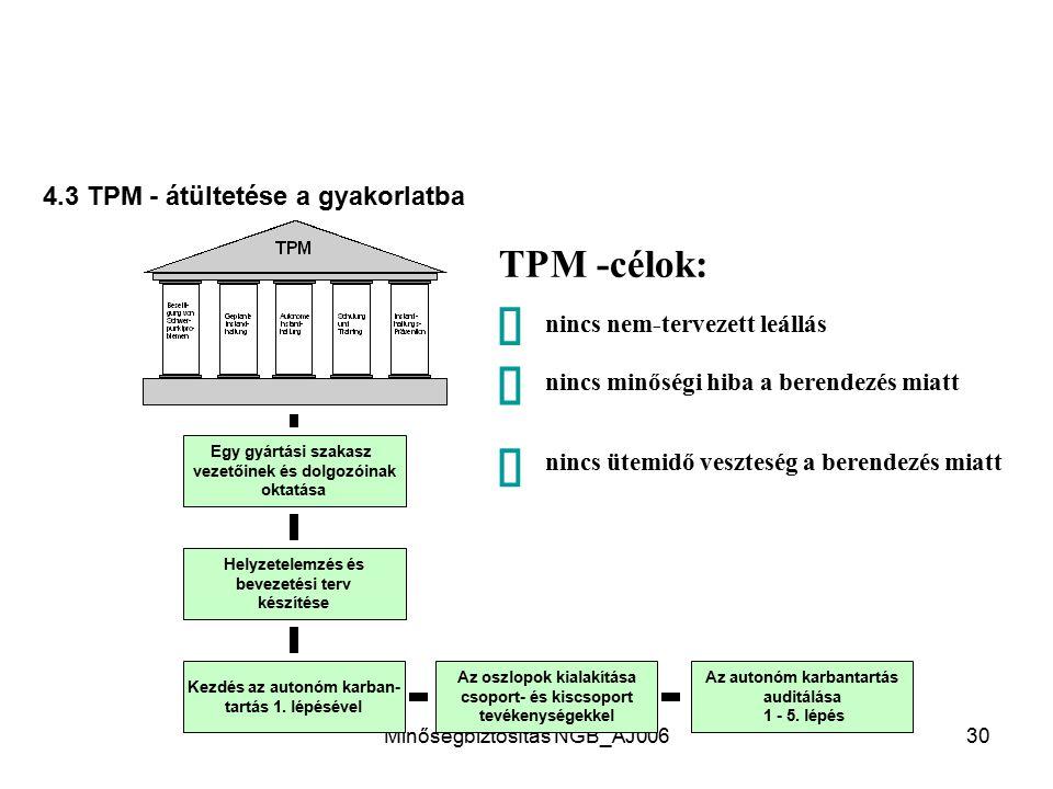 ð ð ð TPM -célok: 4.3 TPM - átültetése a gyakorlatba