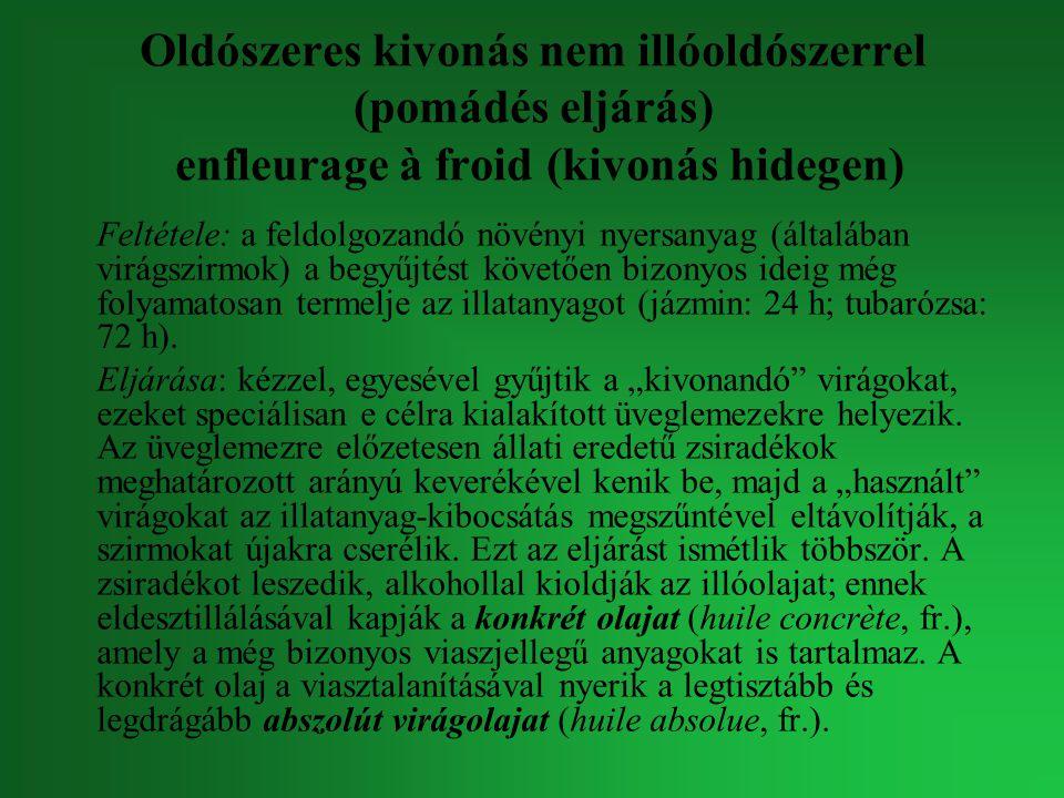 Oldószeres kivonás nem illóoldószerrel (pomádés eljárás) enfleurage à froid (kivonás hidegen)
