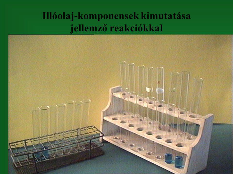 Illóolaj-komponensek kimutatása jellemző reakciókkal