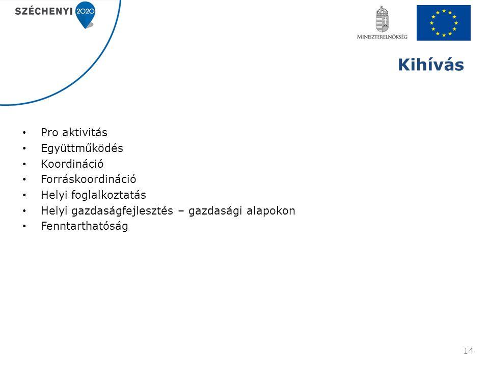 Kihívás Pro aktivitás Együttműködés Koordináció Forráskoordináció