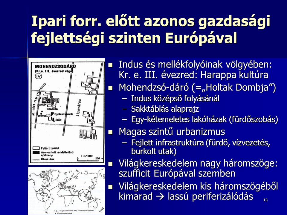 Ipari forr. előtt azonos gazdasági fejlettségi szinten Európával