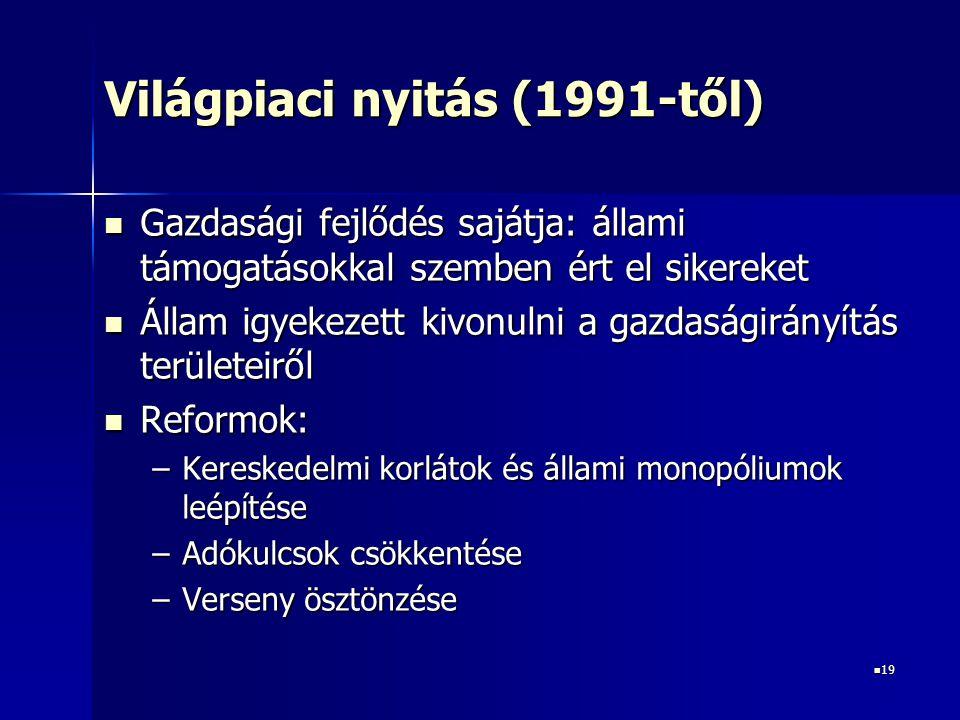 Világpiaci nyitás (1991-től)