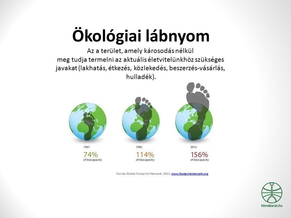 Ökológiai lábnyom Az a terület, amely károsodás nélkül