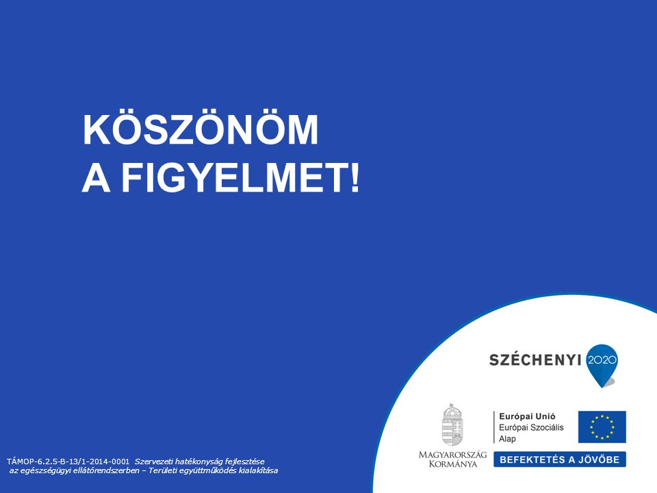 KÖSZÖNÖM A FIGYELMET! TÁMOP-6.2.5-B-13/1-2014-0001 Szervezeti hatékonyság fejlesztése.