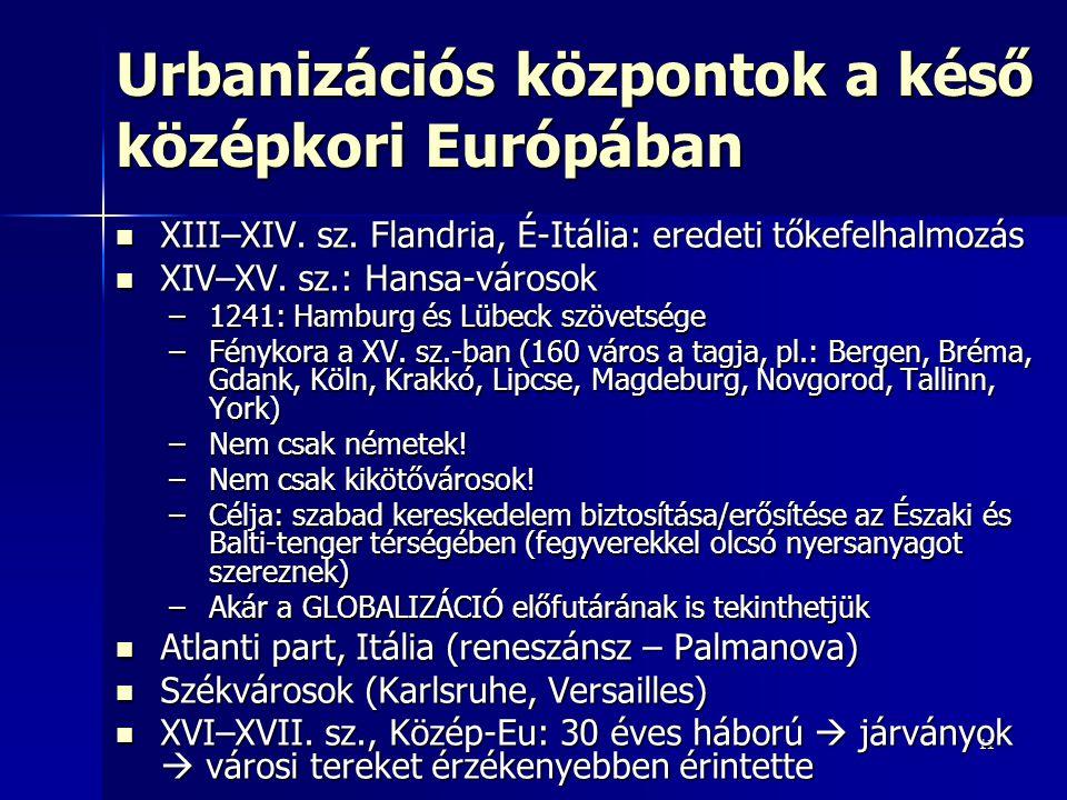 Urbanizációs központok a késő középkori Európában