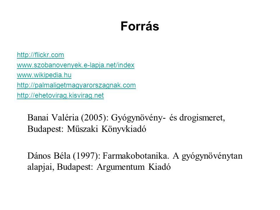 Forrás http://flickr.com. www.szobanovenyek.e-lapja.net/index. www.wikipedia.hu. http://palmaligetmagyarorszagnak.com.