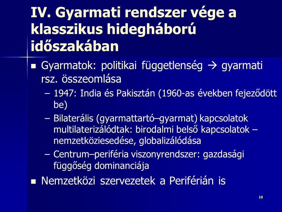 IV. Gyarmati rendszer vége a klasszikus hidegháború időszakában