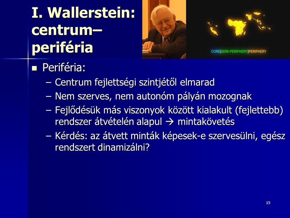 I. Wallerstein: centrum– periféria