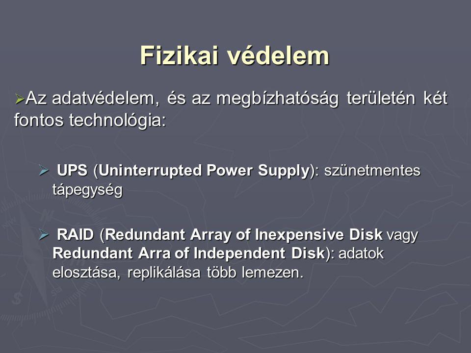 Fizikai védelem Az adatvédelem, és az megbízhatóság területén két fontos technológia: UPS (Uninterrupted Power Supply): szünetmentes tápegység.