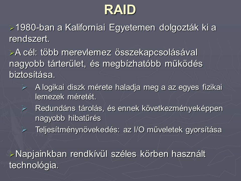 RAID 1980-ban a Kaliforniai Egyetemen dolgozták ki a rendszert.