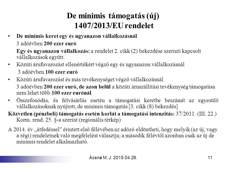 De minimis támogatás (új) 1407/2013/EU rendelet