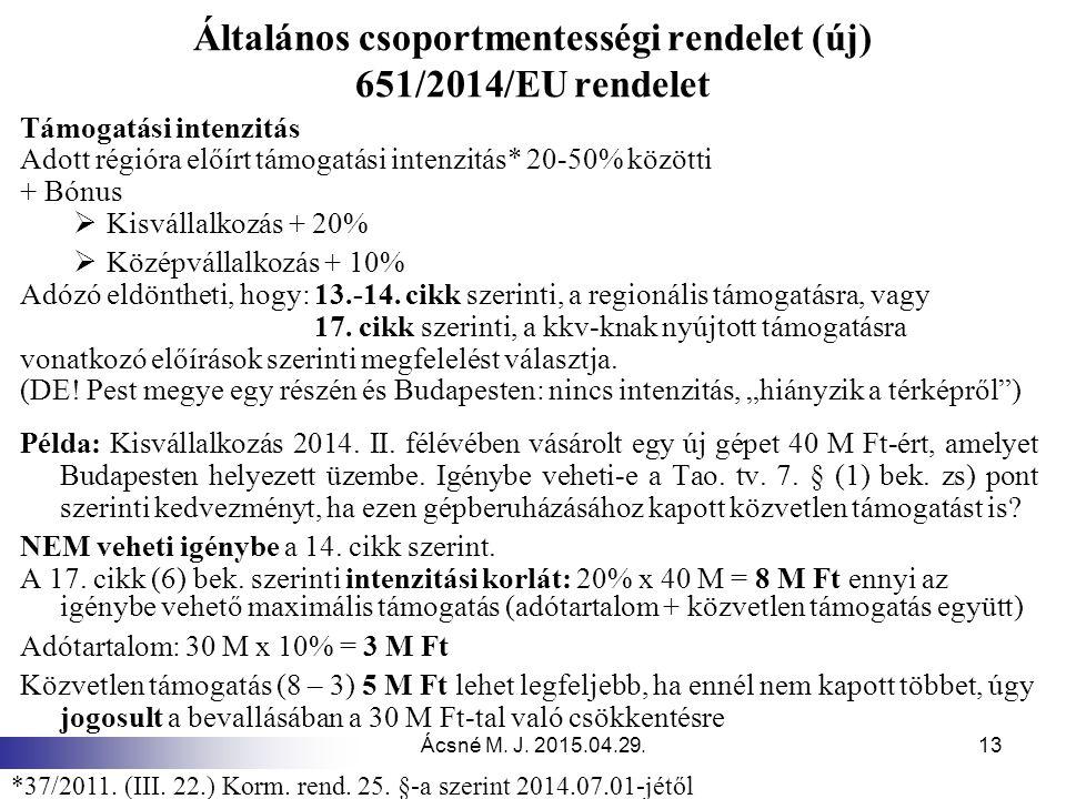 Általános csoportmentességi rendelet (új) 651/2014/EU rendelet