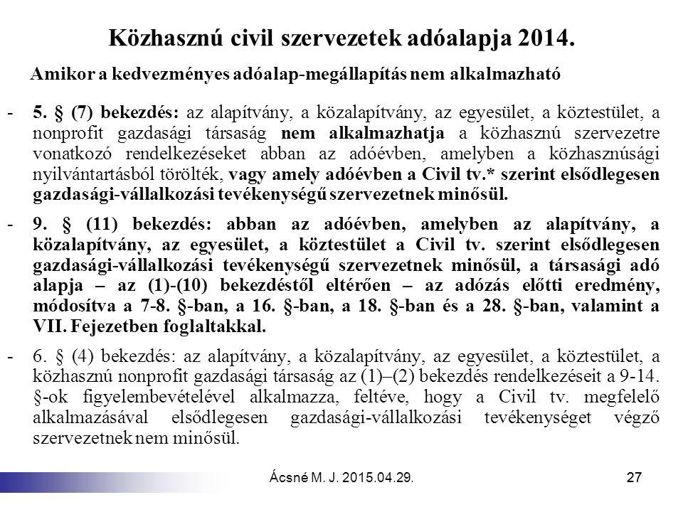 Közhasznú civil szervezetek adóalapja 2014.