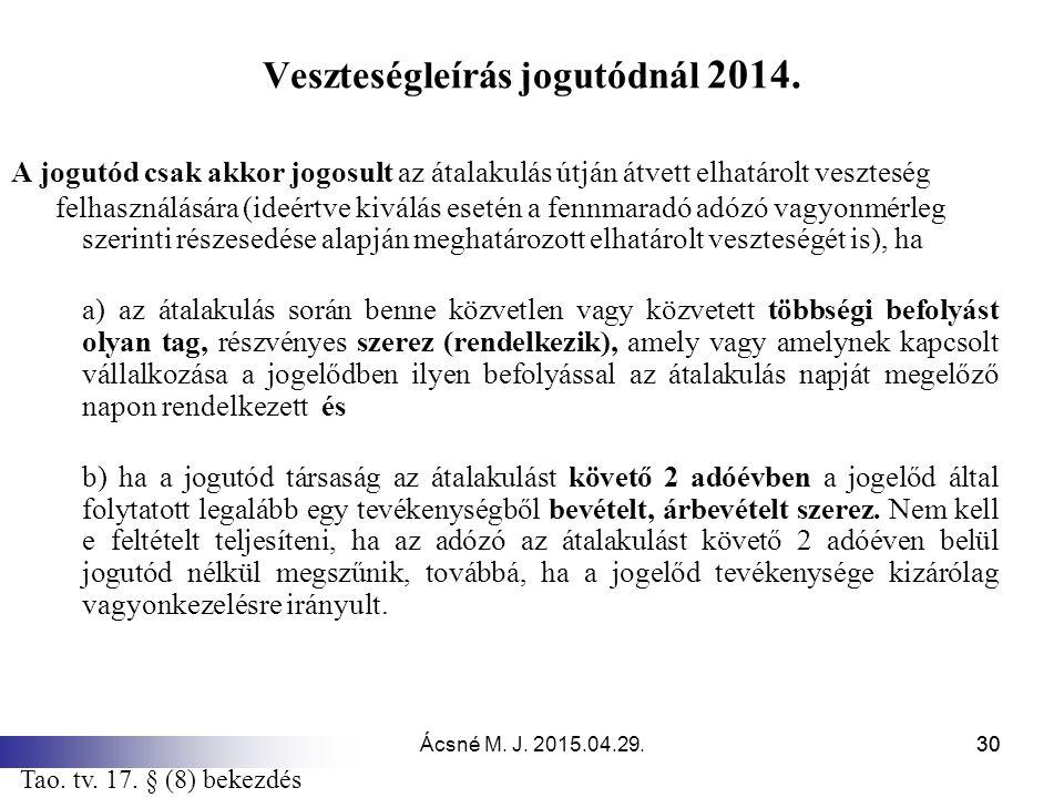 Veszteségleírás jogutódnál 2014.