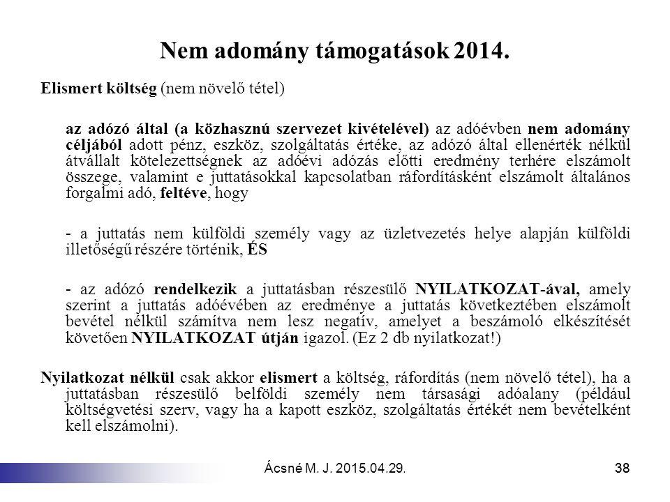 Nem adomány támogatások 2014.