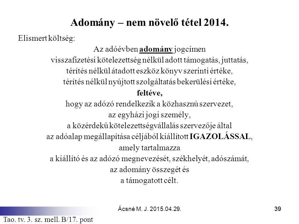 Adomány – nem növelő tétel 2014.