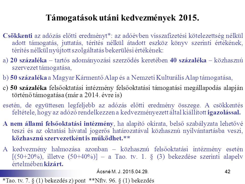 Támogatások utáni kedvezmények 2015.