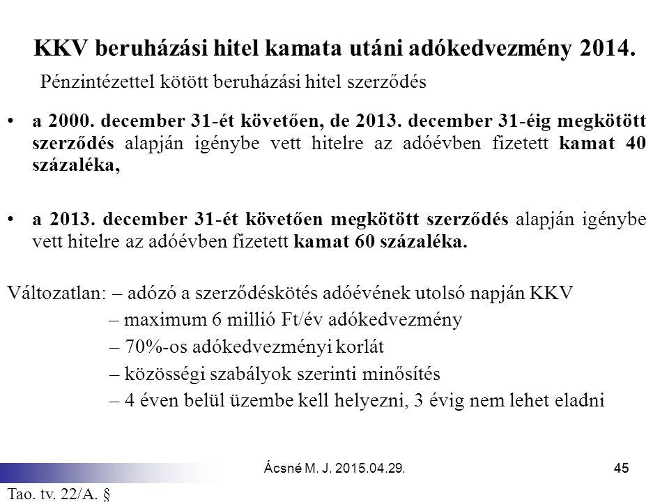 KKV beruházási hitel kamata utáni adókedvezmény 2014.