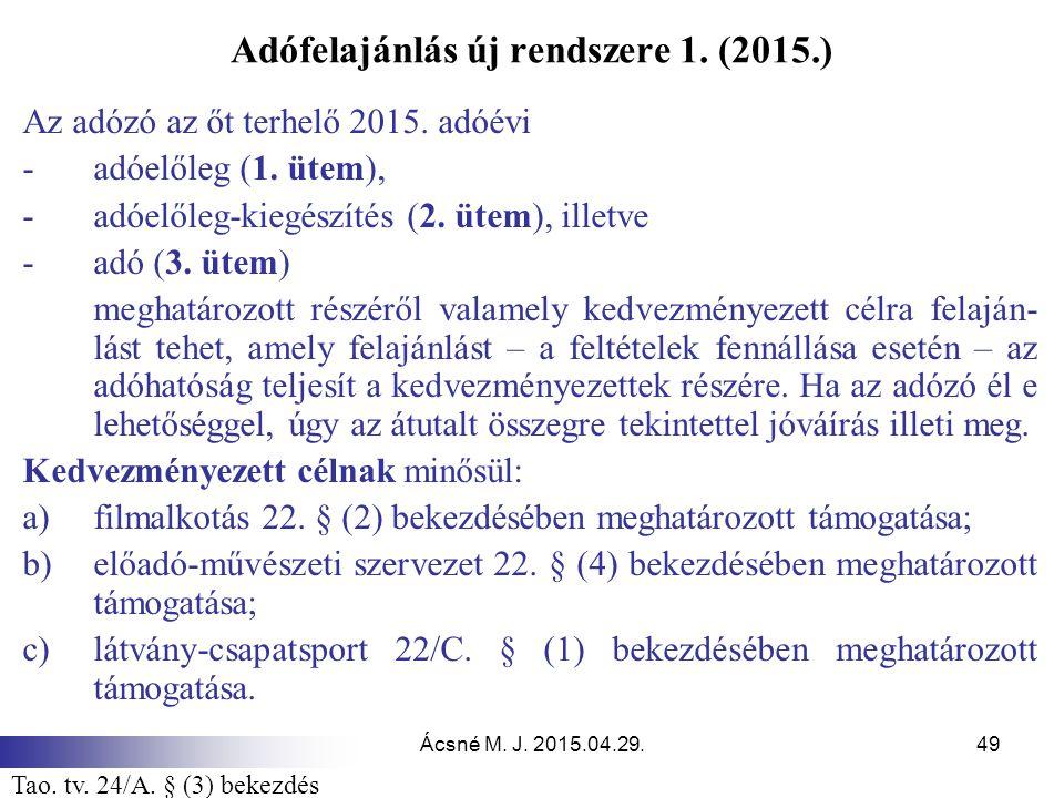 Adófelajánlás új rendszere 1. (2015.)