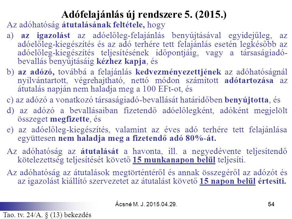 Adófelajánlás új rendszere 5. (2015.)