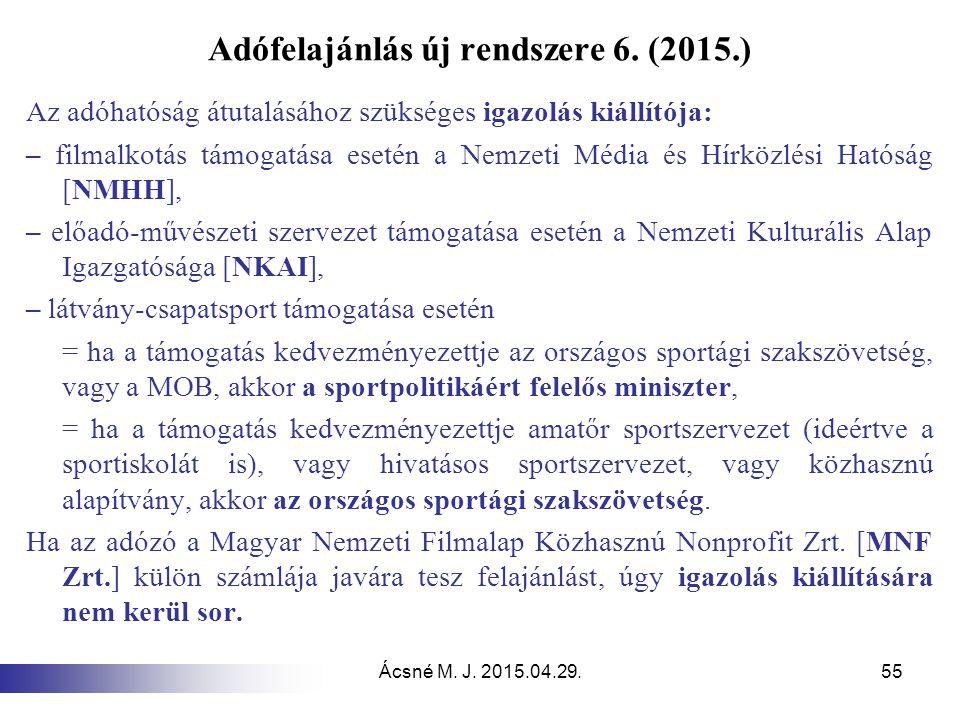 Adófelajánlás új rendszere 6. (2015.)