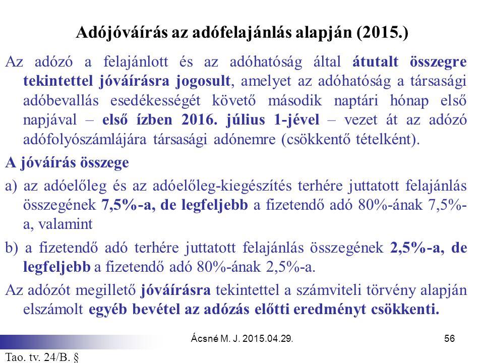 Adójóváírás az adófelajánlás alapján (2015.)