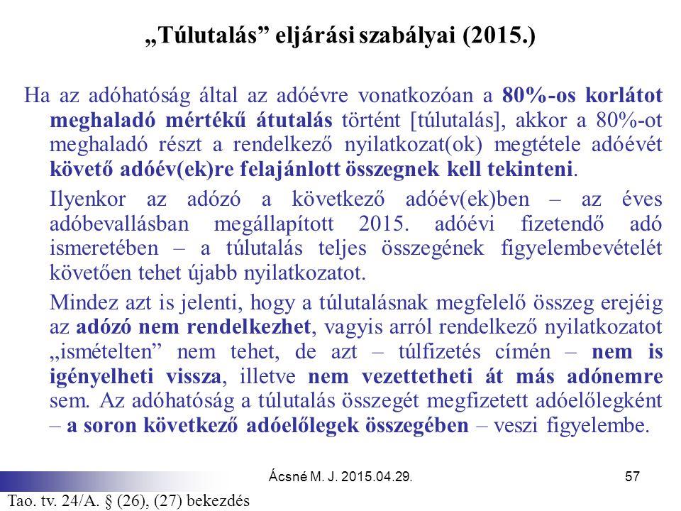 """""""Túlutalás eljárási szabályai (2015.)"""