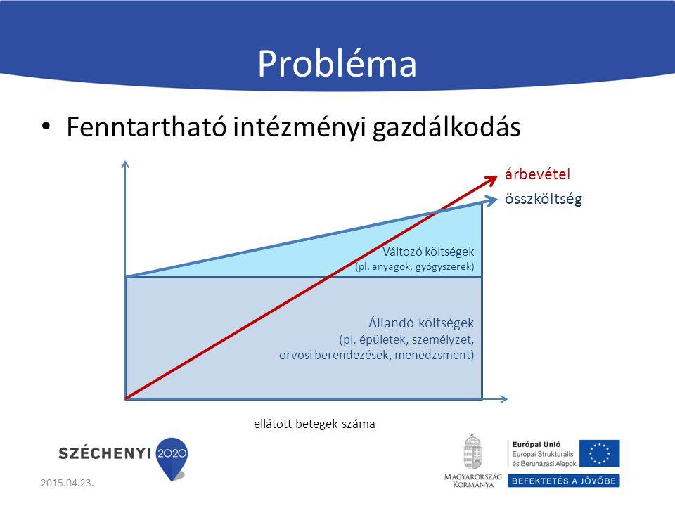 Probléma Fenntartható intézményi gazdálkodás árbevétel összköltség