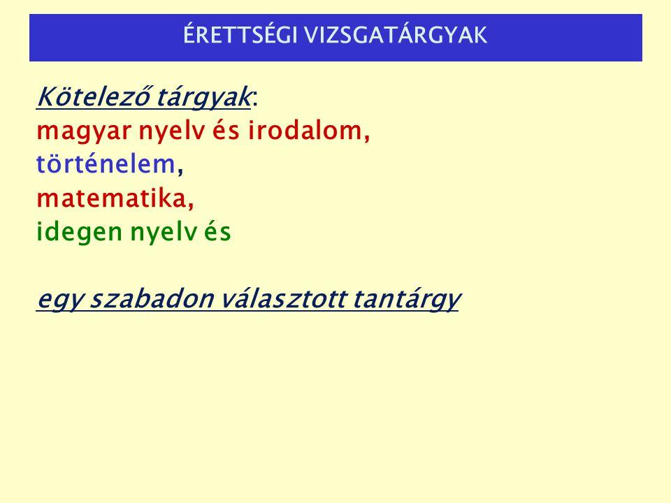 ÉRETTSÉGI VIZSGATÁRGYAK