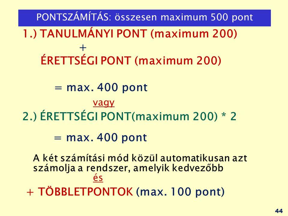 PONTSZÁMÍTÁS: összesen maximum 500 pont