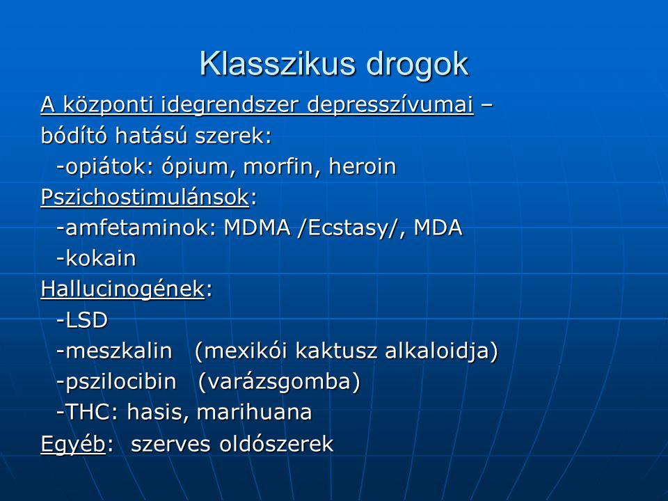 Klasszikus drogok A központi idegrendszer depresszívumai –