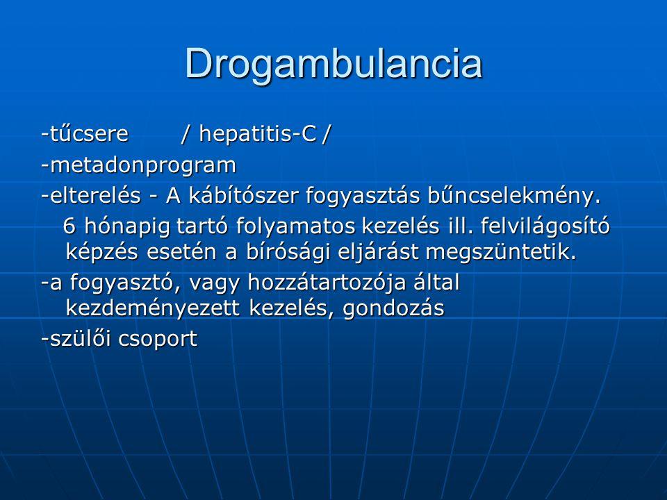 Drogambulancia -tűcsere / hepatitis-C / -metadonprogram