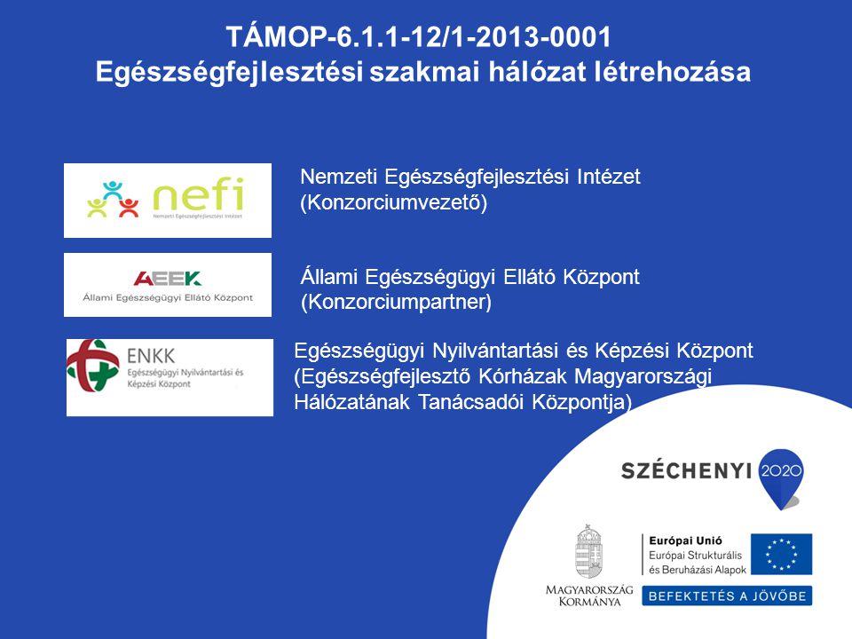 TÁMOP-6.1.1-12/1-2013-0001 Egészségfejlesztési szakmai hálózat létrehozása